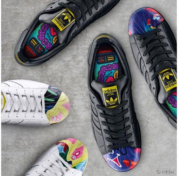Baskets + dessins hauts en couleurs = les Superstars par Todd James !