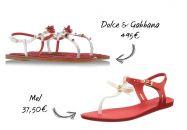 Les sandales rouges et blanches de Dolce & Gabbana