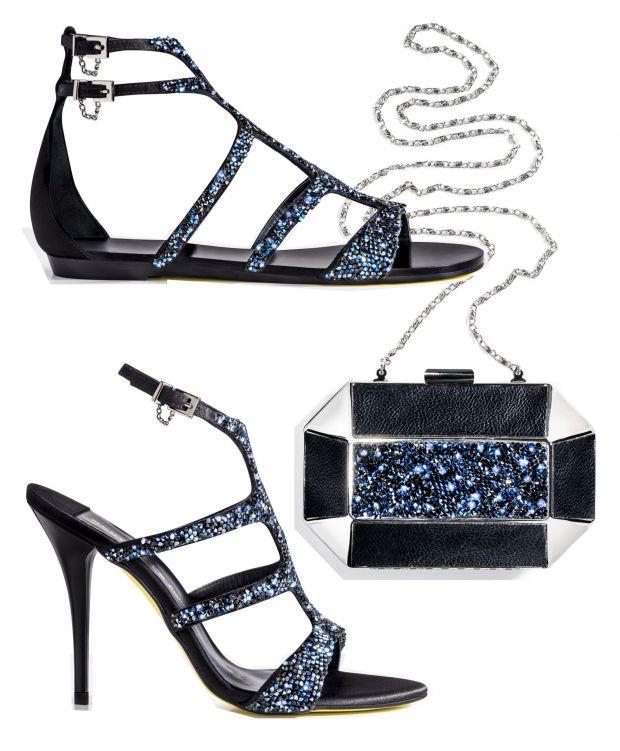 1) Sandales ornées de cristaux (129€), 2) minaudière géométrique (59€), 3) sandales à talons (129€)