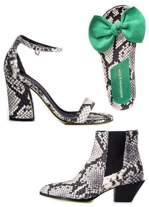 1) Sandales à brides (99€), 2) mules à noeud (65€), 3) bottines en veau imitation python (159€)
