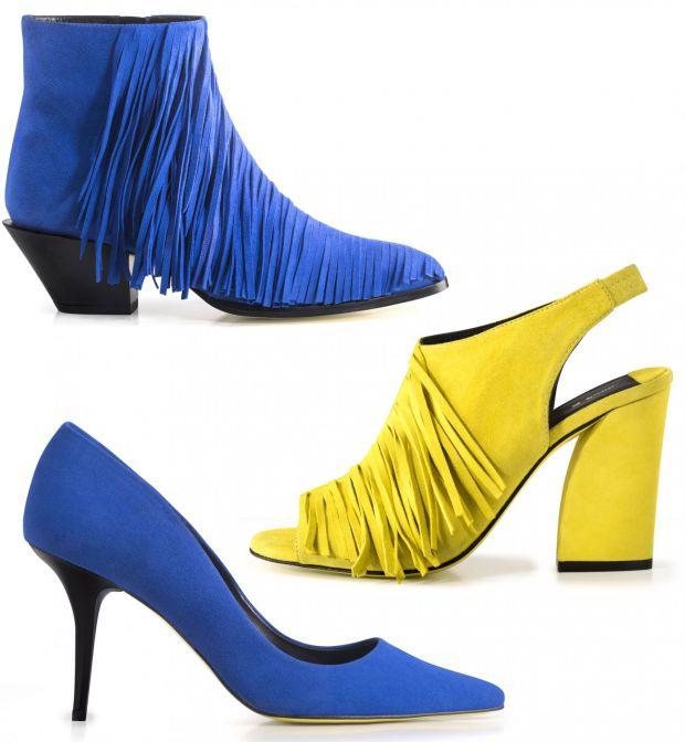 1) Bottines frangées (169€), 2) sandales frangées (99€), 3) escarpins en cuir velours (99€)