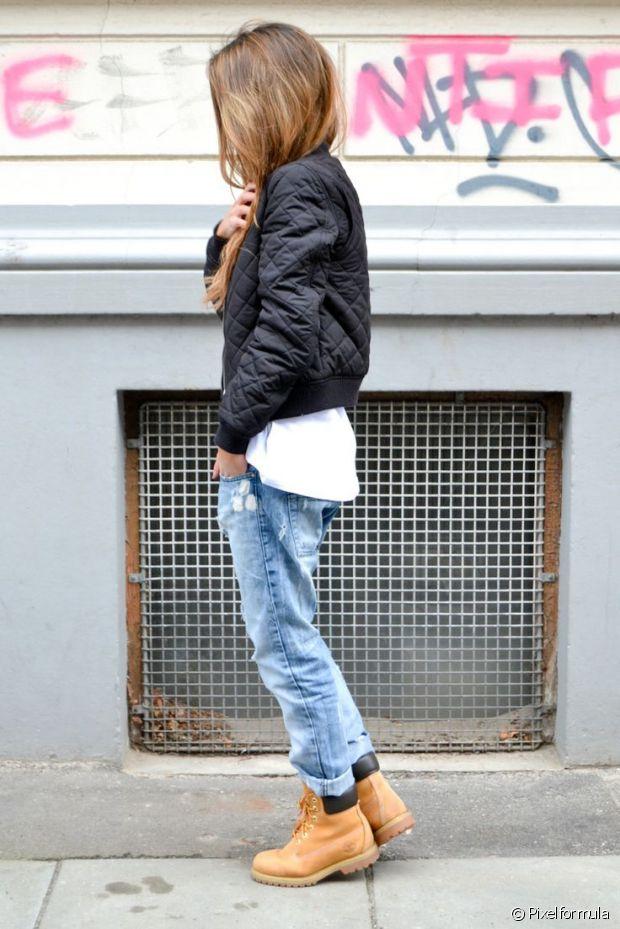 Un jean boyfriend et des Timberland, voilà l'uniforme des londoniennes