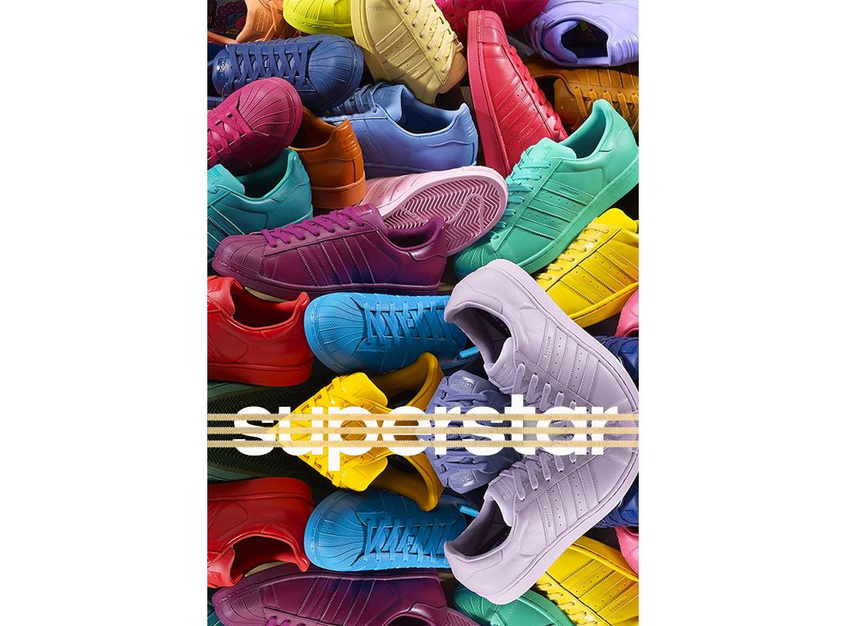 pas mal 86326 5d980 Superstar Supercolor : les baskets colorées de Pharrell ...