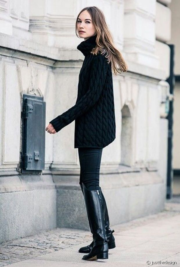 Un total look noir très bien maîtrisé !