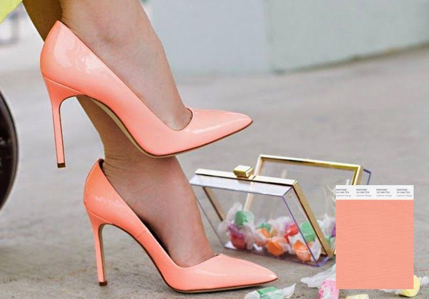 chaussure talon couleur peche