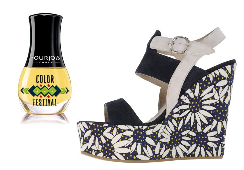 Sandales compensées Osvaldo 1956  +  Vernis Color festival Bourjois