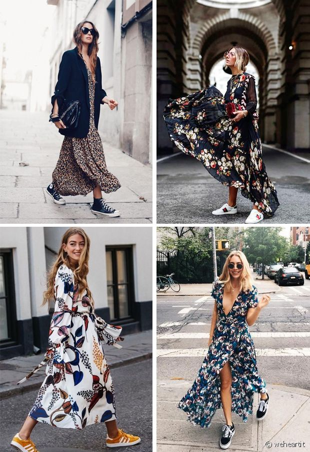 Robes fleuries et baskets : le combo ultra tendance