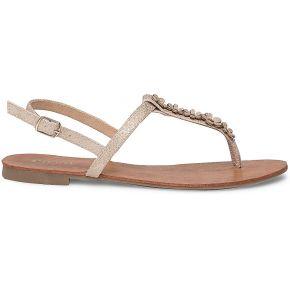 Sandale tong beige doré à fleurs or eram
