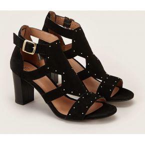 Sandales en cuir suédé clouté ezé noir...