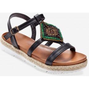 Blancheporte-femme noir sandales plates à...