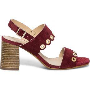 Sandale bordeaux en cuir velours rouge eram