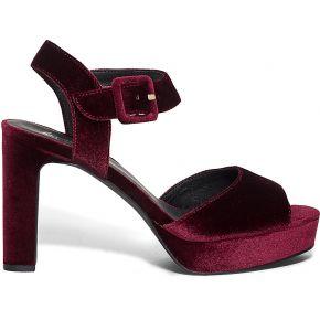 Sandale plateforme bordeaux en velours rouge eram