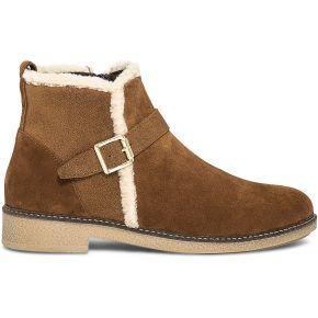 Boots camel en cuir velours bordé fourrure...