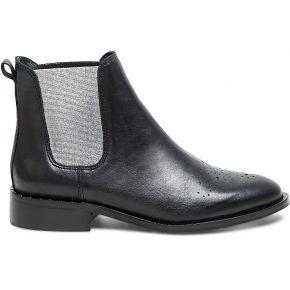 Chelsea boots noir cuir à élastiques argentés...