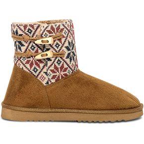 Boots fourrée camel à empiècement ethnique...