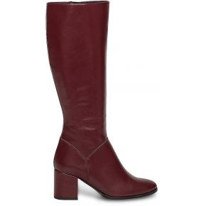 Botte cuir bordeaux à talon carré rouge eram