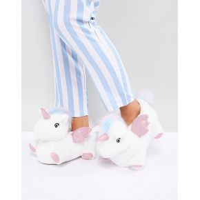 Femme new look - chaussons motif licorne - blanc