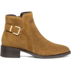 Boots camel en cuir velours avec boucle