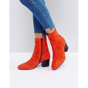 Femme asos - ruben - bottines en cuir - rouge
