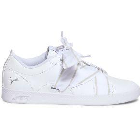 Tennis puma blanche à ruban rayé blanc puma