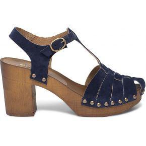 Sandale-sabot bleu marine en cuir velours...