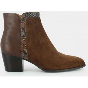Boots bi-matière à talon en cuir et velours...