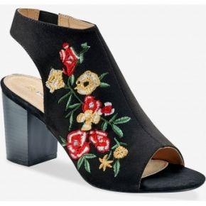 Blancheporte-femme noir sandales brodées