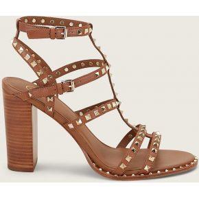 Sandales lucy à rivets cloutés en cuir camel -...