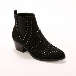 Blancheporte-femme noir boots clous à talon