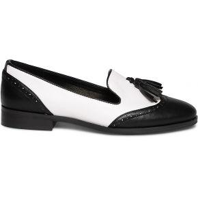 Slippers noir et blanc à pampilles noir eram