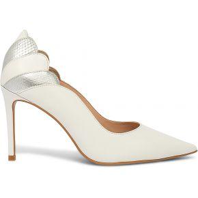 Stiletto blanc en cuir à découpes talon blanc...