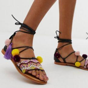 Femme vero moda - sandales en cuir brodé ornées...