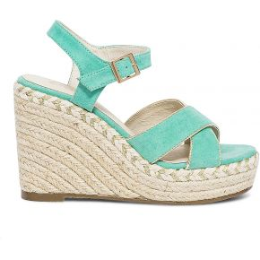 Sandale compensée vert d'eau et or vert eram