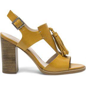 Sandale jaune en cuir à pompons jaune eram