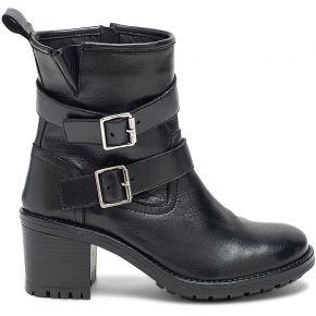 Boots motard à talon noir en cuir