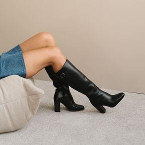 Bottes hautes à talon et boucle en cuir noir -...