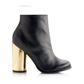 Boots à talon rond doré fantaisie femme - 3...