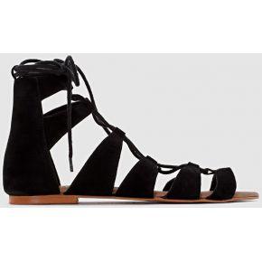 Sandales plates en cuir style spartiates,...