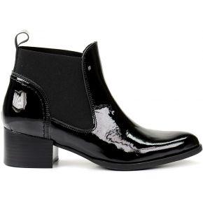 Boots chelsea en cuir verni - noir. sacha noir