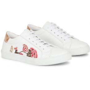 Sneakers coquelicot blanc cuir andré