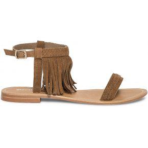 Sandale frangée croûte de cuir camel