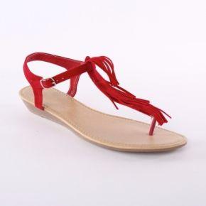 Femme rouge sandales franges