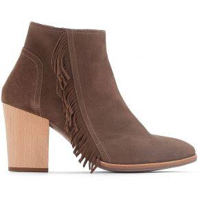 Boots cuir détail frange - feminin - marron -...