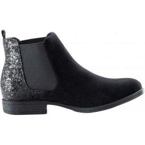 Femme noir boots plates élastiquées bi-matière
