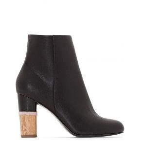 Boots cuir talon aspect bois - feminin - noir -...