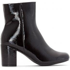 Boots vernies talon carré - feminin - noir -...