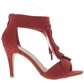 Sandales rouges à talon fin de 9cm aspect daim...