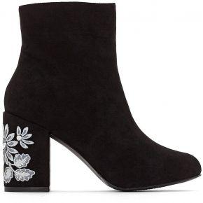 Boots talon brodées - feminin - noir -...