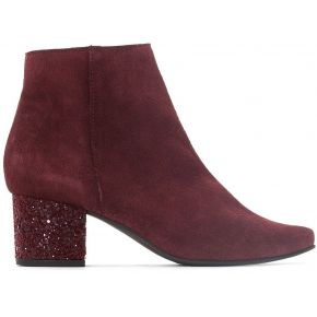 Boots cuir talon paillettes - feminin - rouge -...