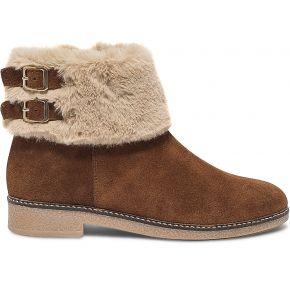 Boots croûte de cuir camel à col fourré